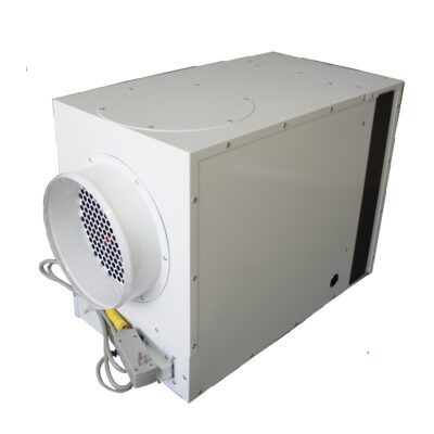 White dehumidifier seen from the rear used for crawl spaces and attics