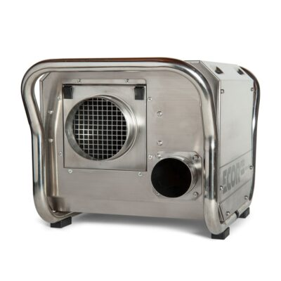 DH2500 INOX dehumidifier in stainless steel used for restoration projects where industrial dehumidifiers need to have protective casings
