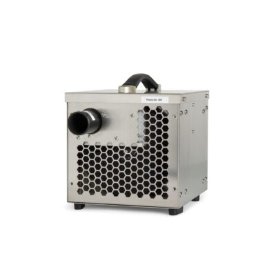 White industrial dehumidifier that is used for drying homes and out buildings as well as vacation homes