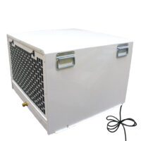 Swimming pool dehumidifier in white that is often ducted in and out with spiral ducting