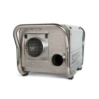 Restoration dehumidifier in stainless steel and yellow used for crawl spaces