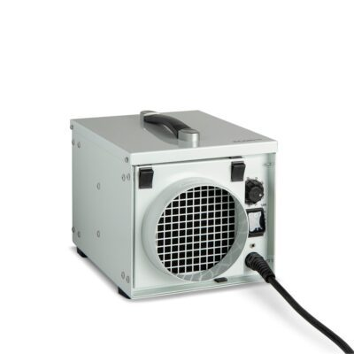 White metal crawl space dehumidifier often used as loft dehumidifier to run all day every day with three duct point in, out and exhaust